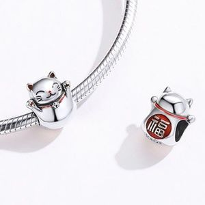 Jewelry - New Lucky Cat 925 Sterling Silver Bracelet Charm